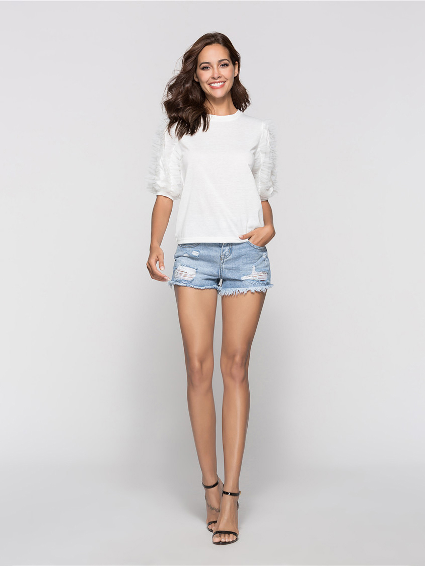 Pullover Top with Ruffle Trimmed Sleeves