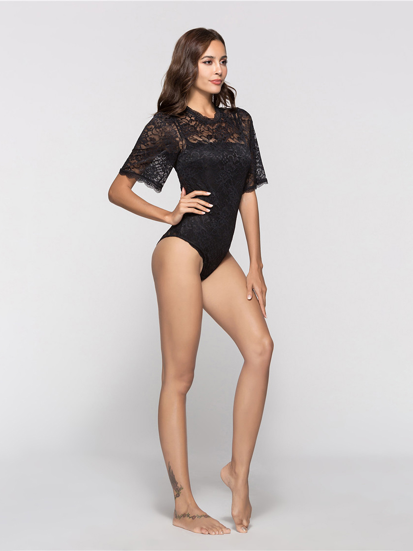 Lace Top Bodysuit with Elbow-Length Sleeves