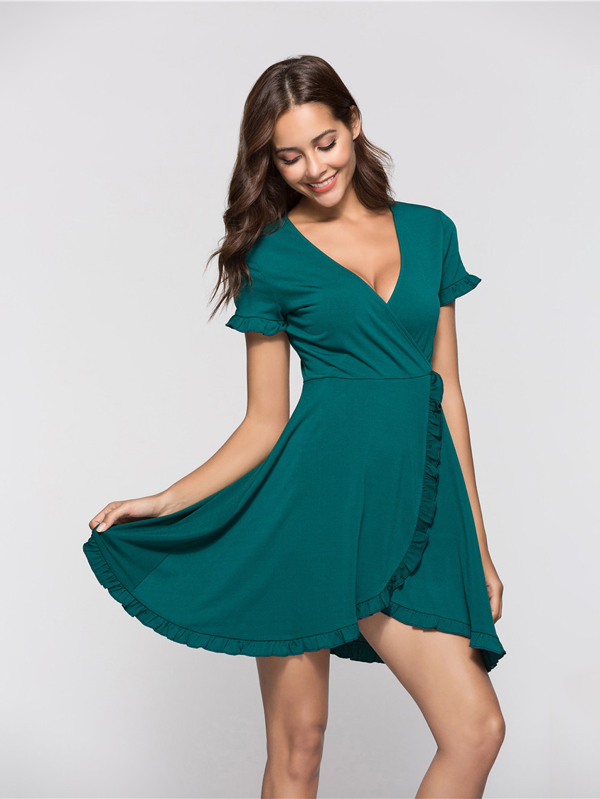 Wrapped and Ruffled Club Dress