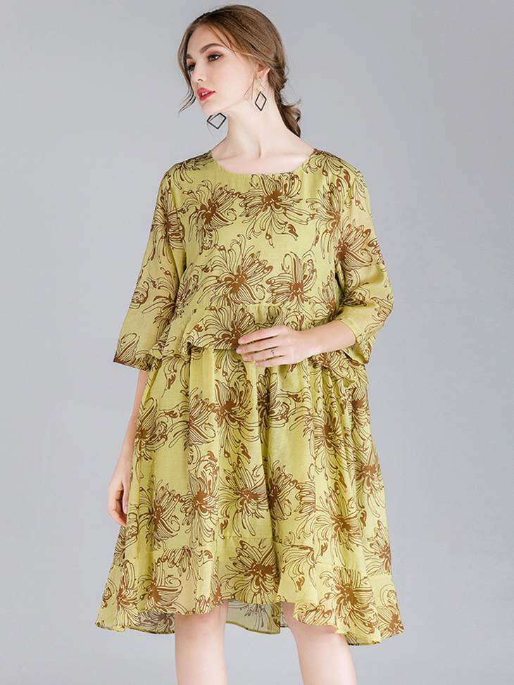 Tencel Print Cocktail Dress with ¾ Sleeves