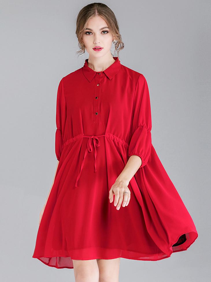 Shirt-Style Casual Dress in Chiffon
