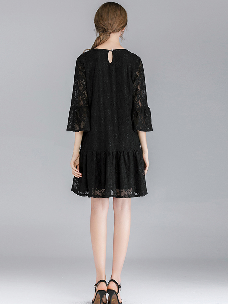 Lace Cocktail Dress with Dropped Waist and Ruffled Skirt