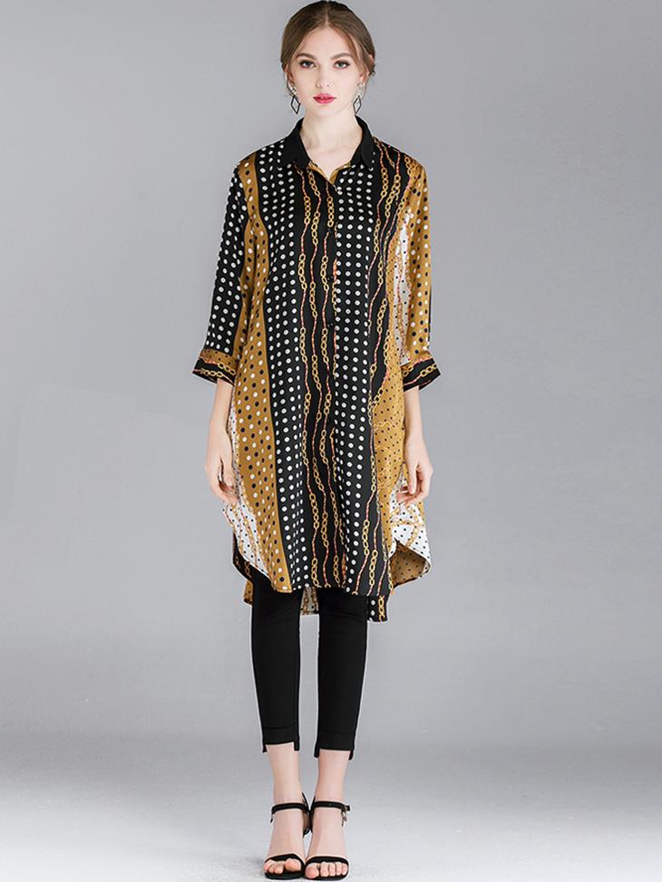 Long Tunic Top in Satin Print Fabric