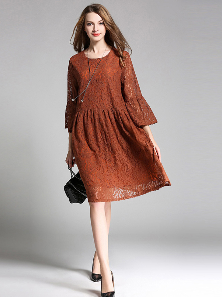Lace Formal Dress with Trumpet Sleeves