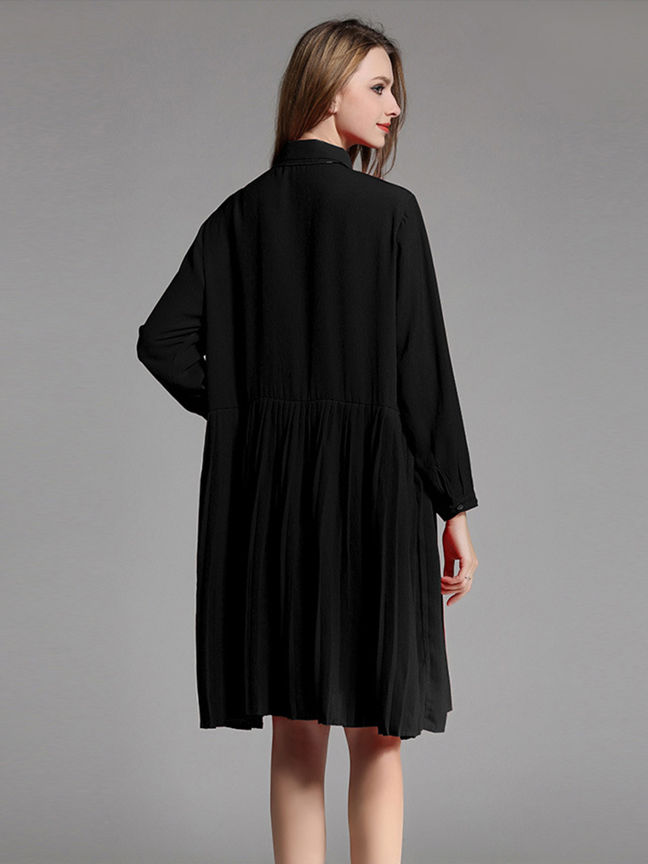 Shirt Dress for Work with Pleated Skirt