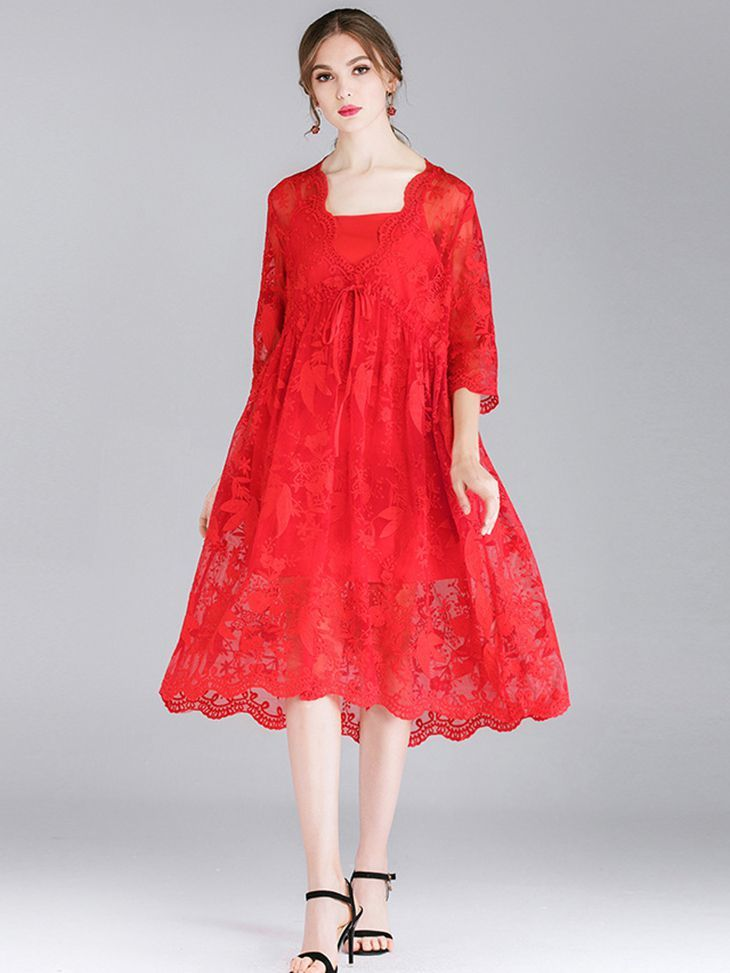 Scalloped Lace Cocktail Dress