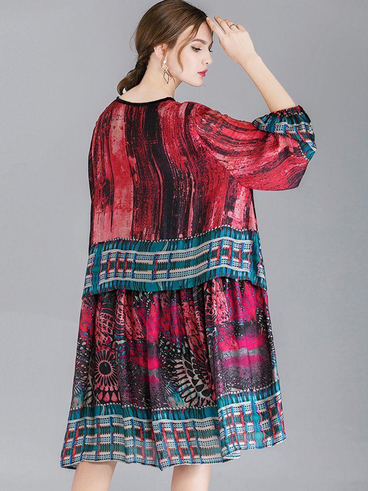 Border Print Cocktail Dress