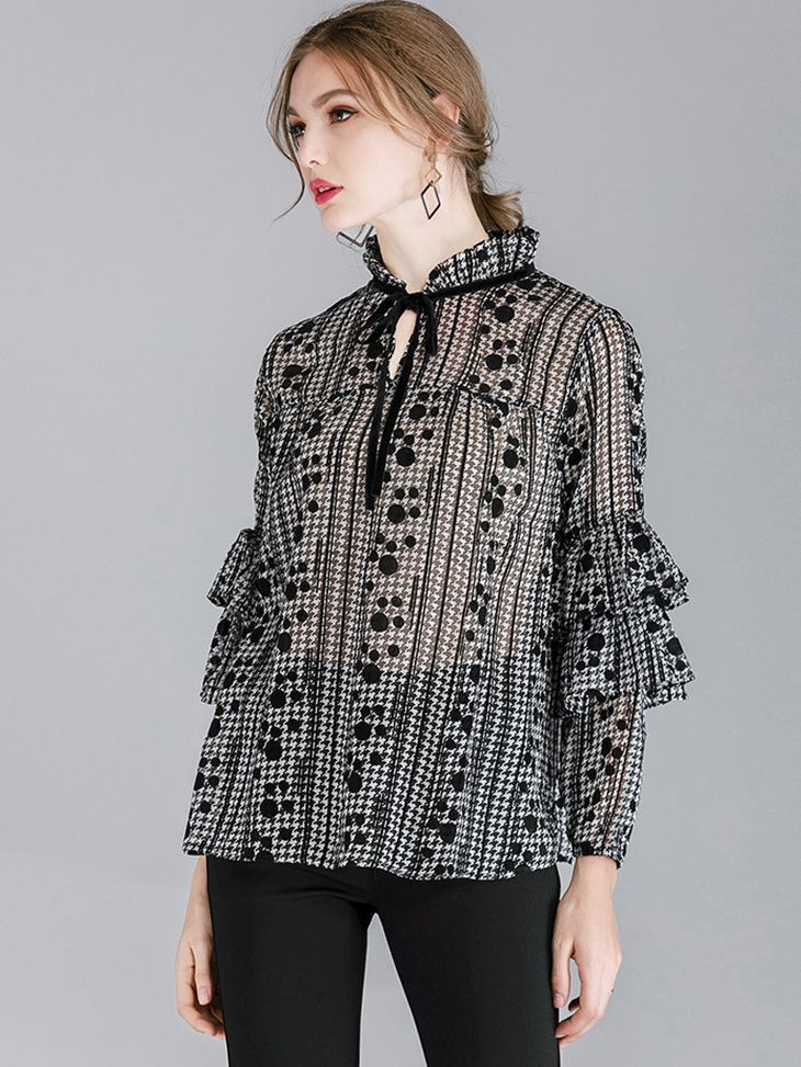 Chiffon Top with Ruffled Sleeves
