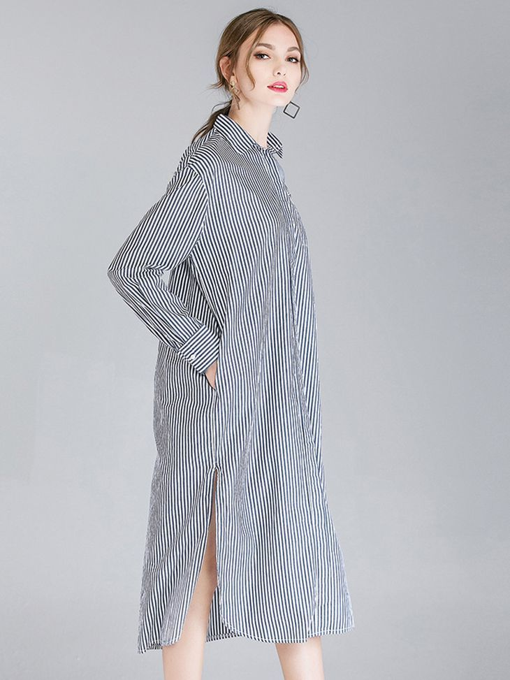 Midi Casual Dress with Big Shirt Style