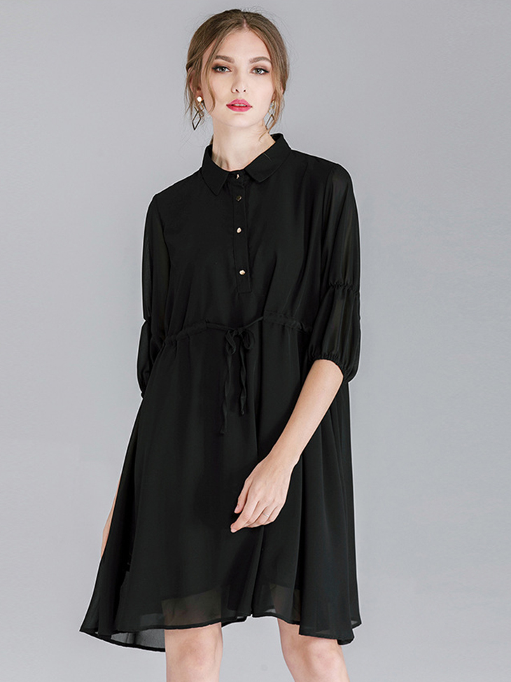 Shirt-Style Casual Dress in Chiffon