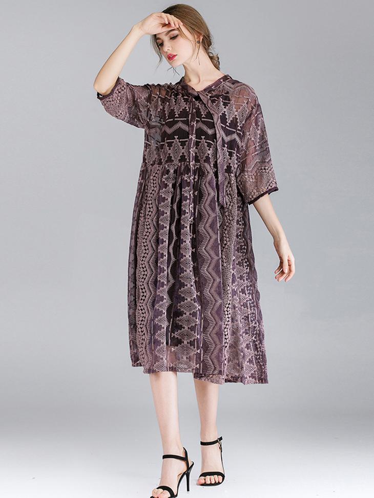 Embroidered Chiffon Casual Dress