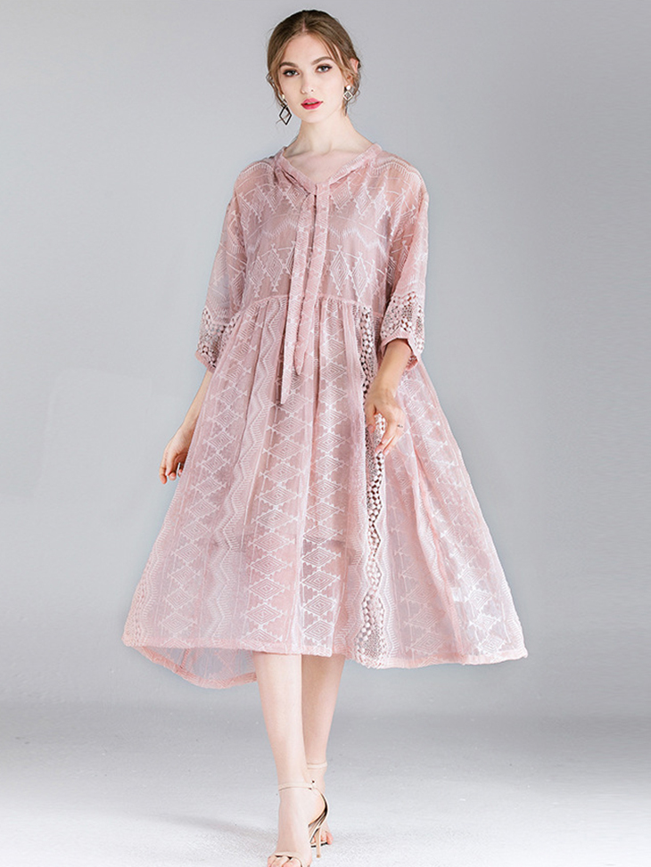 Embroidered Chiffon Casual Dress