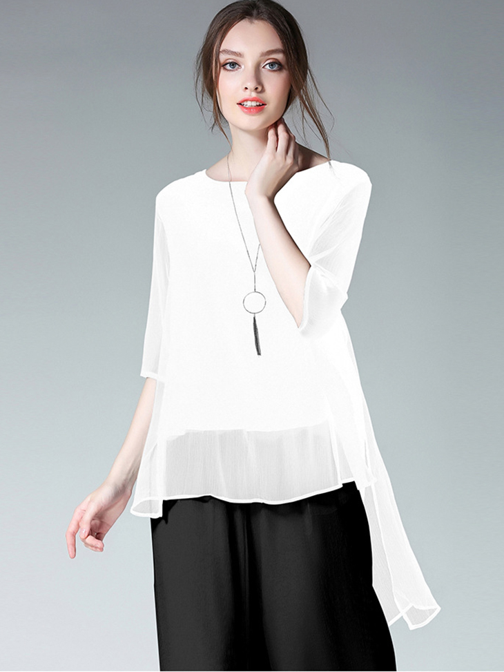Chiffon Top with High-Low Hem