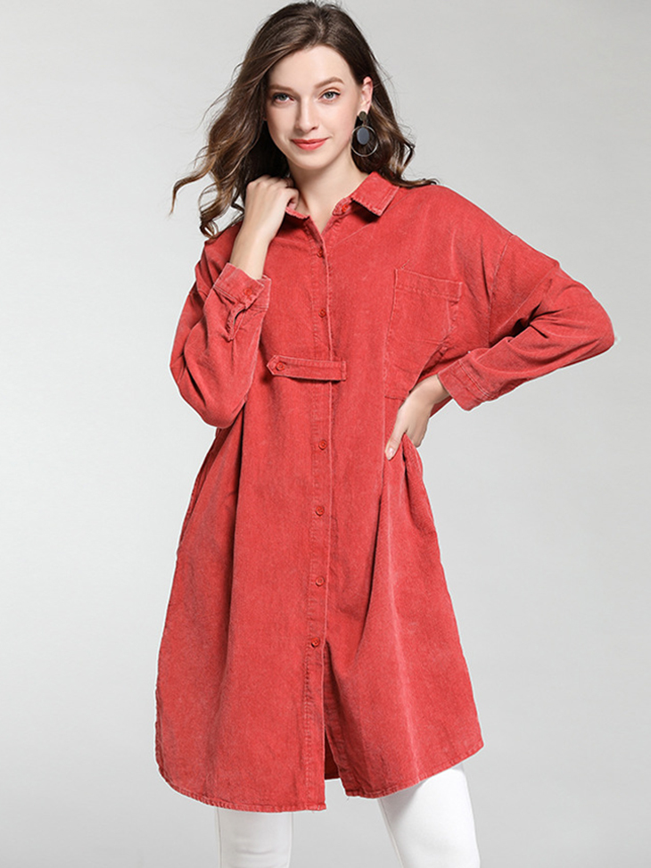 Dress-Length Tunic Top with Pockets