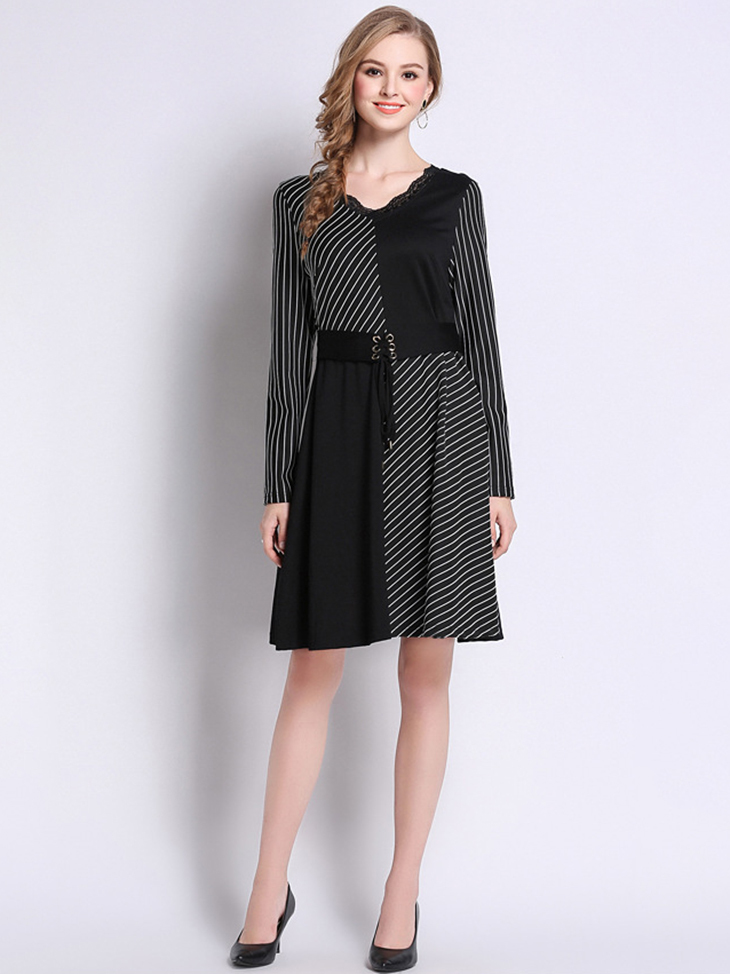 Knit Work Dress with Belted Waist