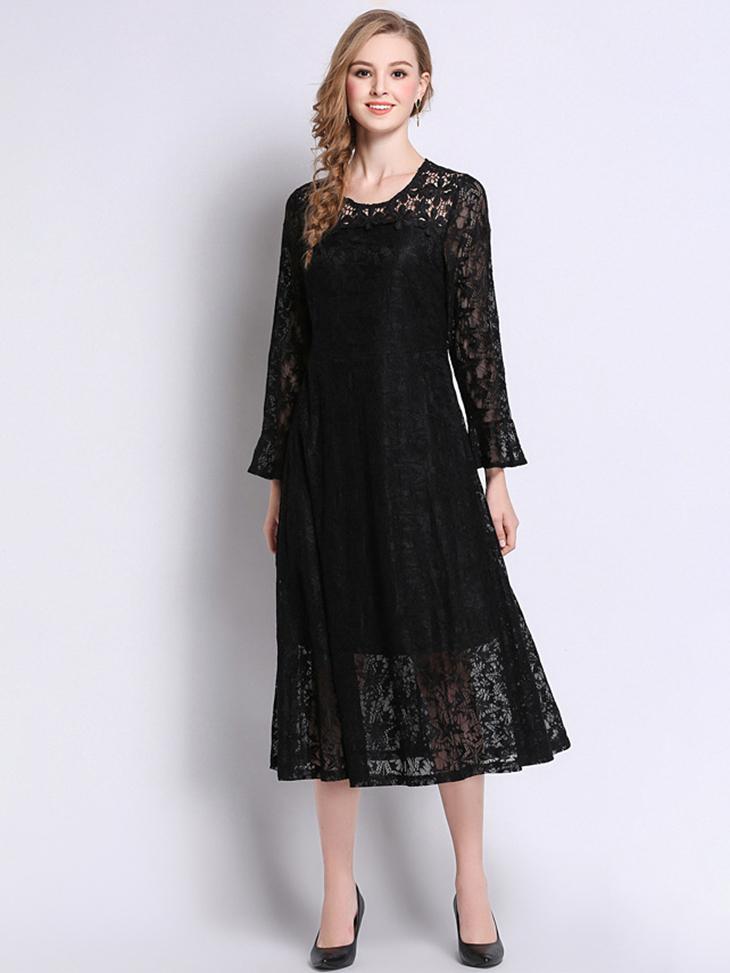 Tea Length Lace Formal Dress