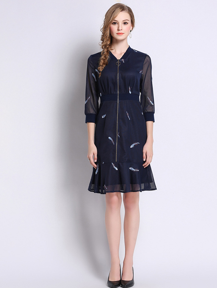Zip Front Cocktail Dress