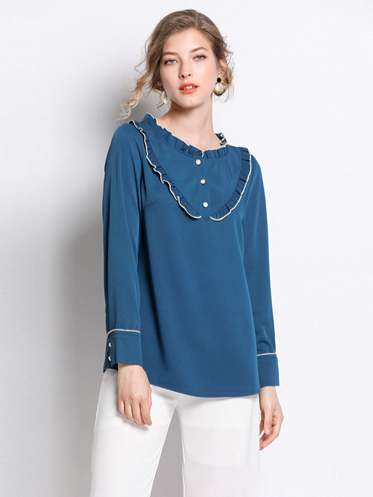 Feminine Top with Piping and Ruffles