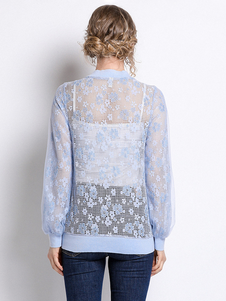 Lace Netting Jacket with Zip Front