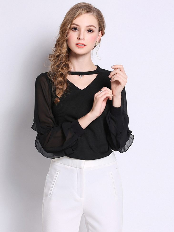 Ribbed Top with Chiffon Sleeves
