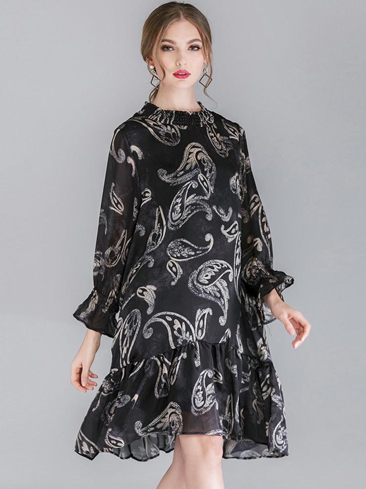 Dress for Work with Elastic Smocked Neckline