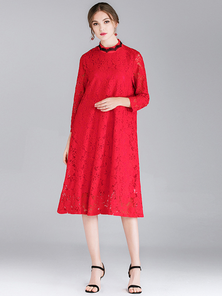 Lace Cocktail Dress with Long Sleeves