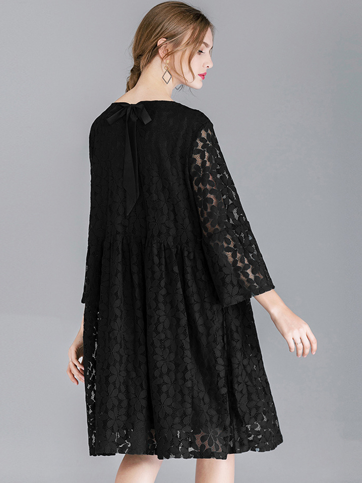Lace Cocktail Dress with Full Gathered Skirt