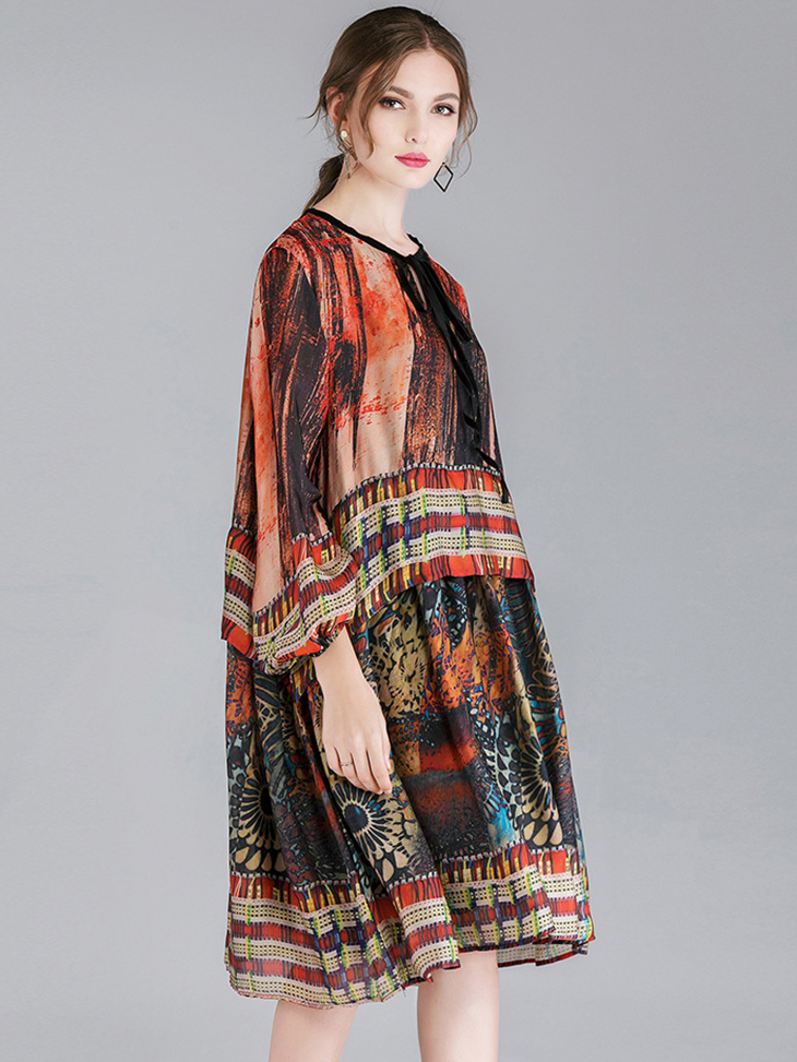 Border Print Cocktail Dress