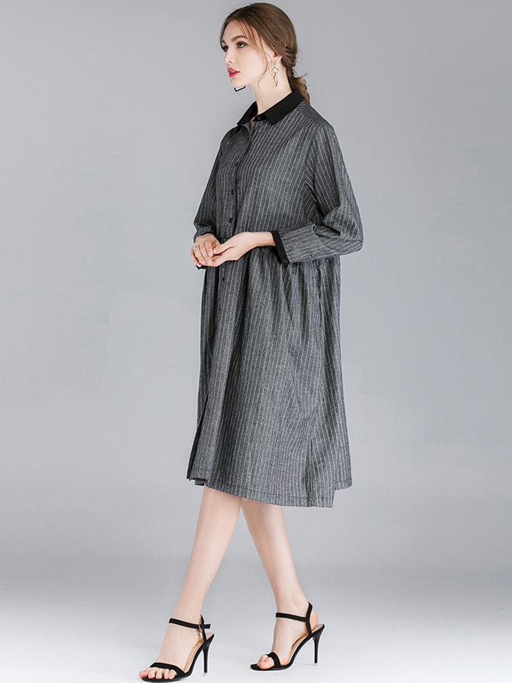 Work Dress in Ramie and Cotton Fabric