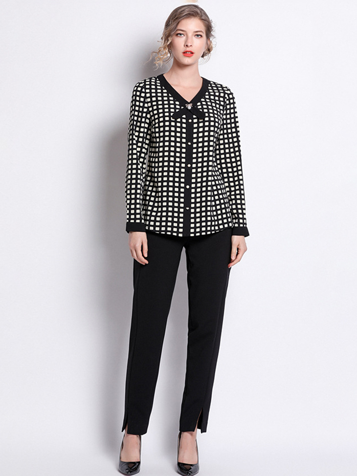 Checked Chiffon Top with Button Front