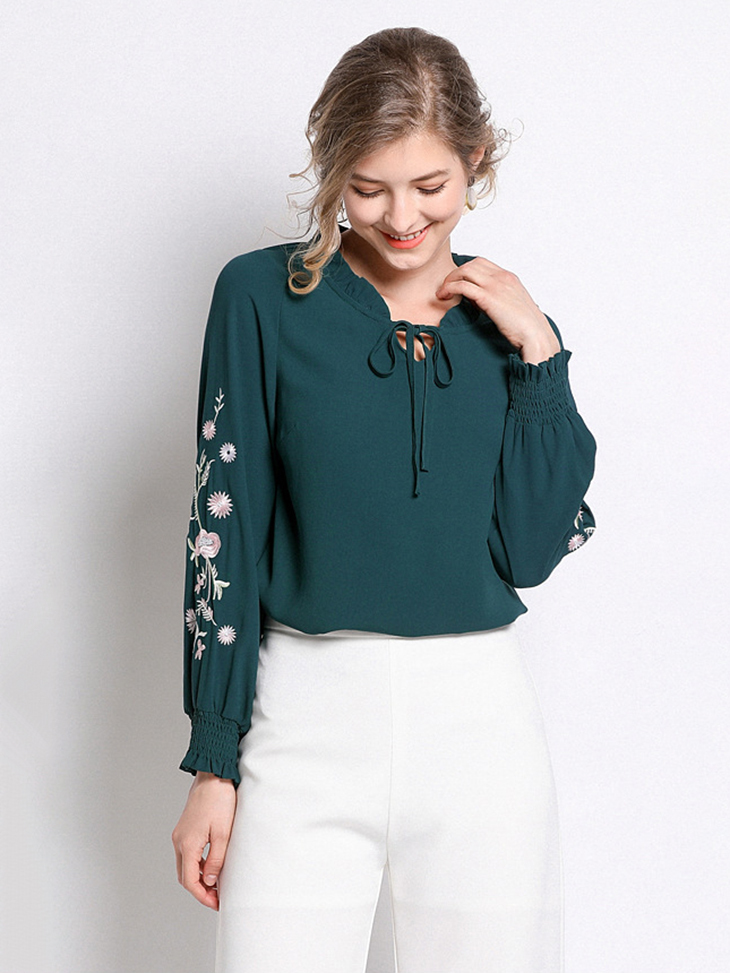 Casual Top with Floral Embroidery