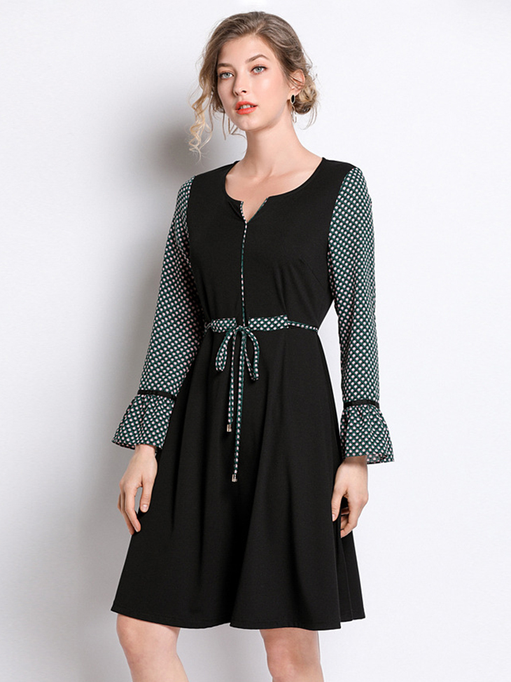 Knit and Chiffon Dress for Work