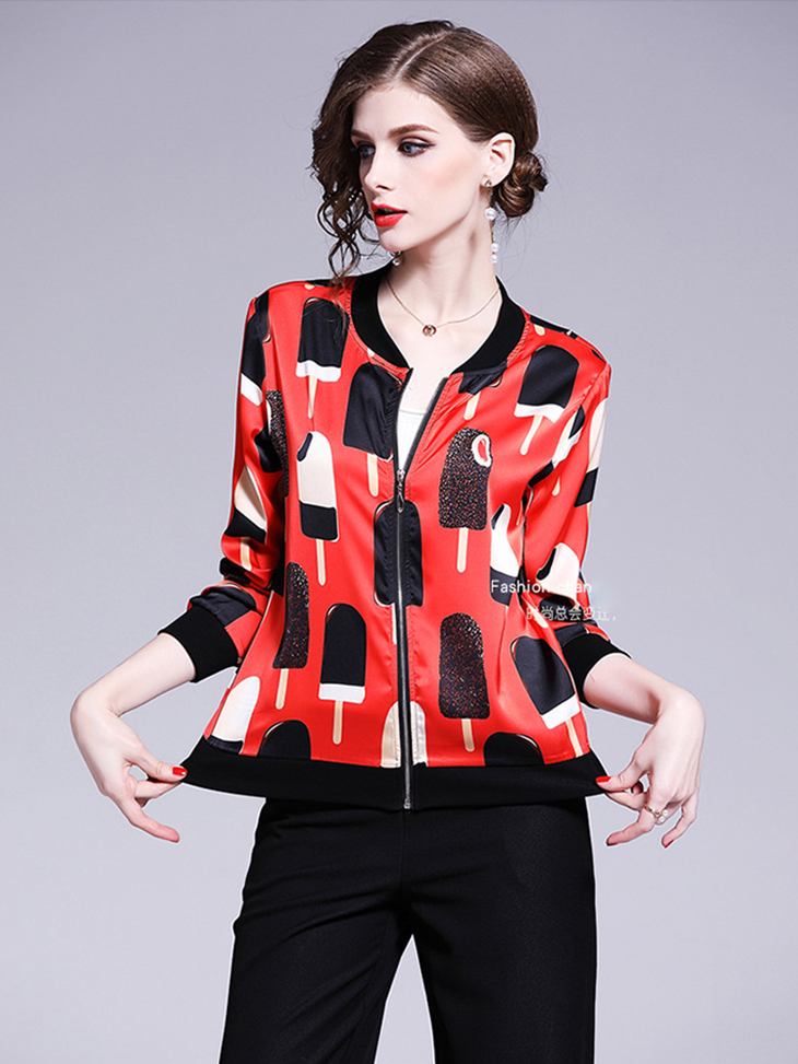 Baseball Jacket in Chiffon Print