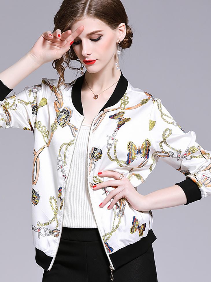 Sporty Chiffon Print Jacket