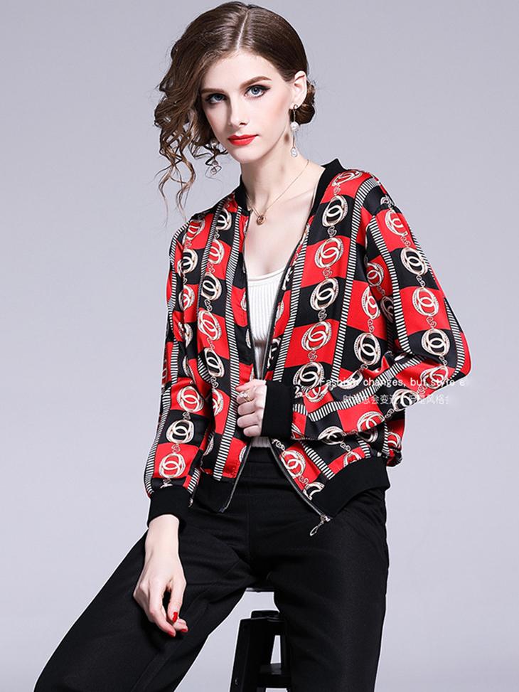 Chiffon Print Jacket with Sporty Styling