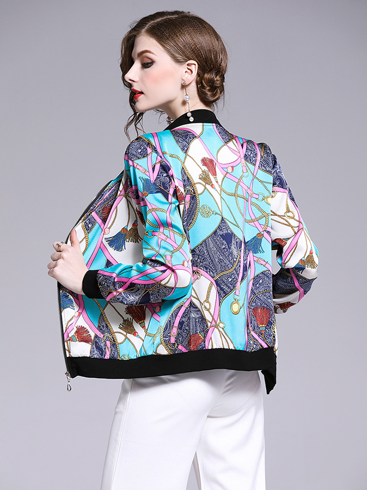 Baseball Jacket in Elegant Chiffon Print