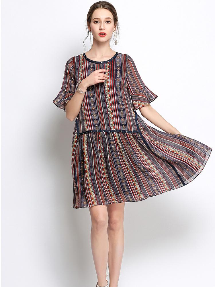 Chiffon Casual Dress with Dropped Waist