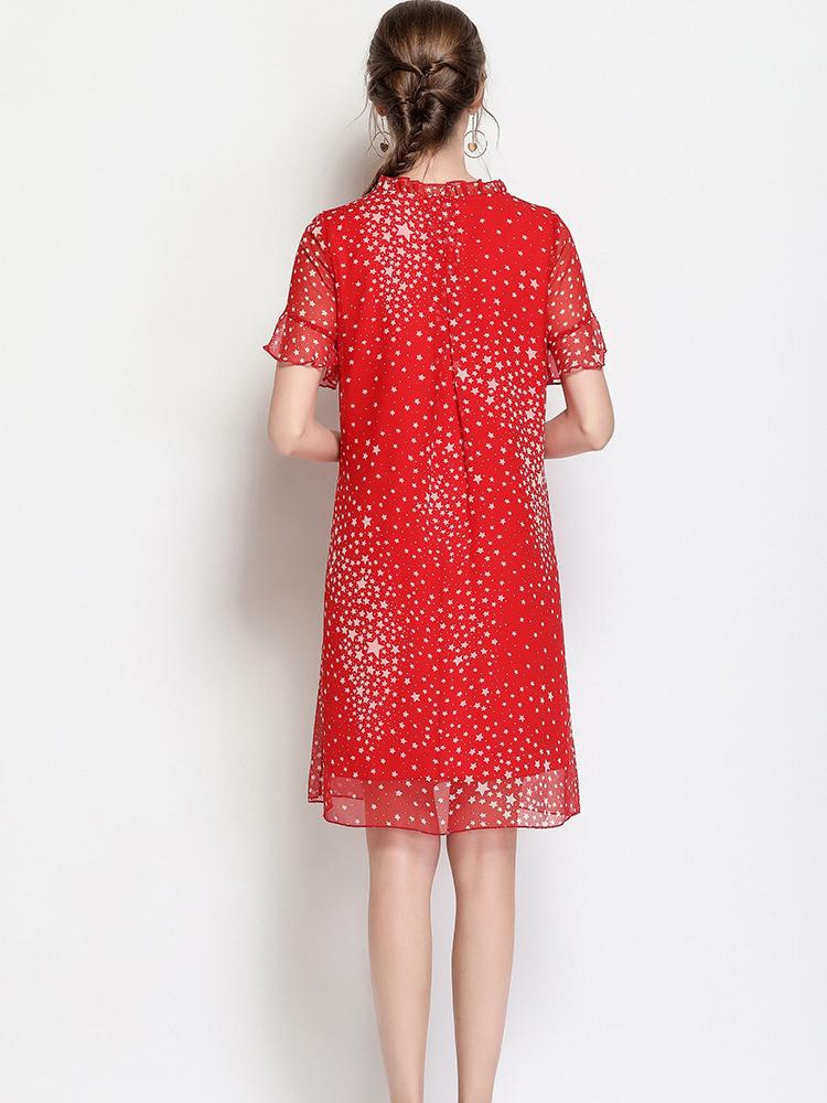 Short-Sleeved Chiffon Casual Dress