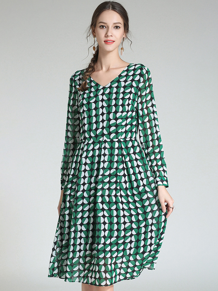 Work Dress in Print Chiffon