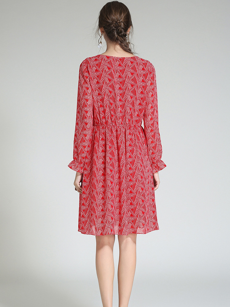 Long-Sleeved Chiffon Dress for Work