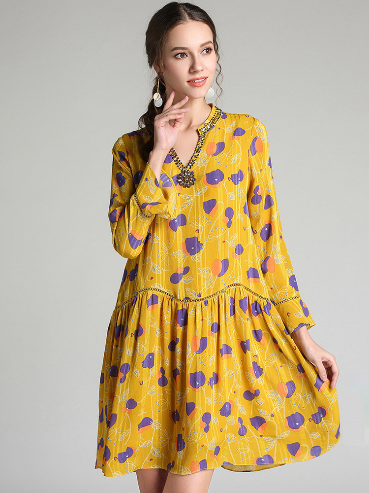 Boho Cocktail Dress with Loose Fit