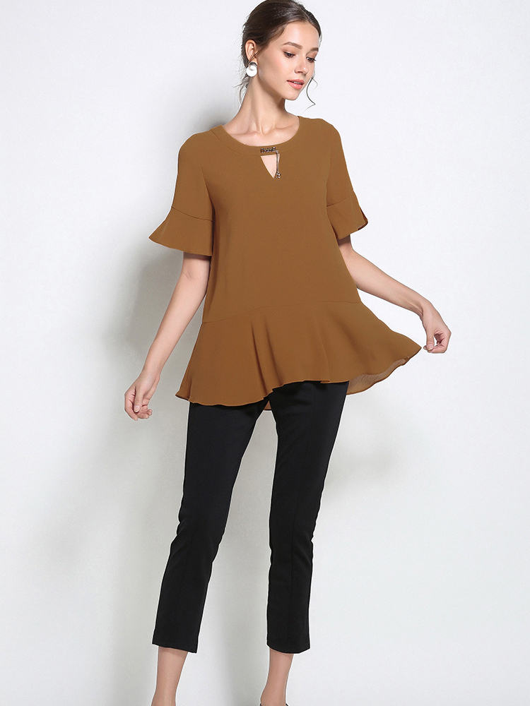 Chiffon Top with Ruffled Peplum and Sleeves