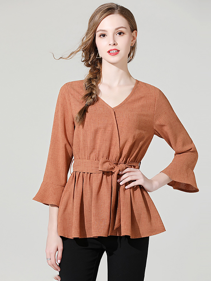 Top with Wrap Look and Belted Peplum