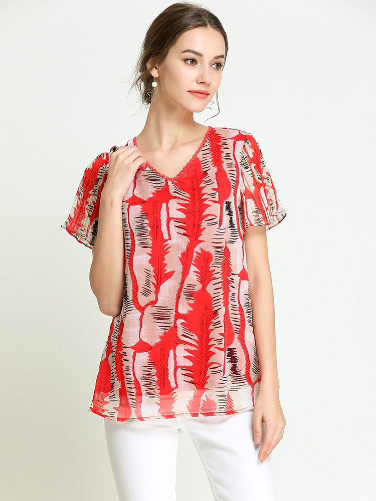 Chiffon Print Top with Flutter Sleeves