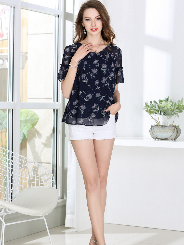 Chiffon Top with Sheer Short Sleeves