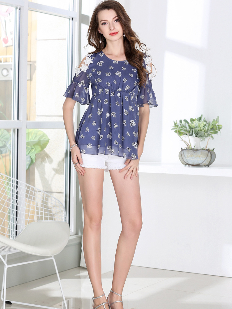 Chiffon Top with Lace Appliques
