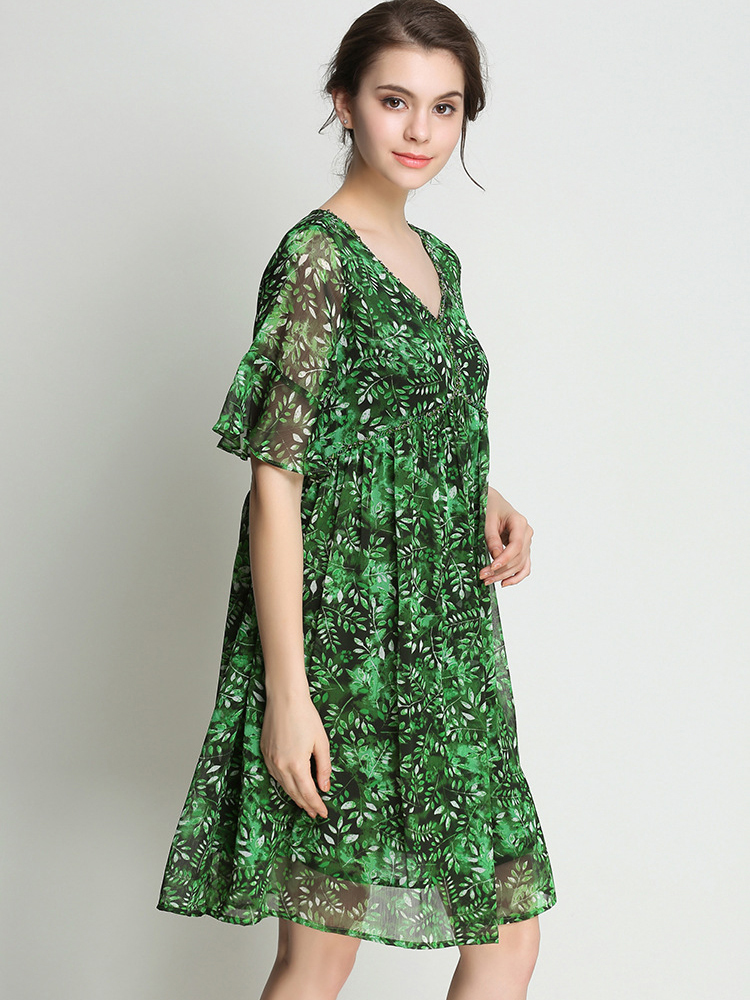 Chiffon Cocktail Dress with Elbow-Length Sleeves