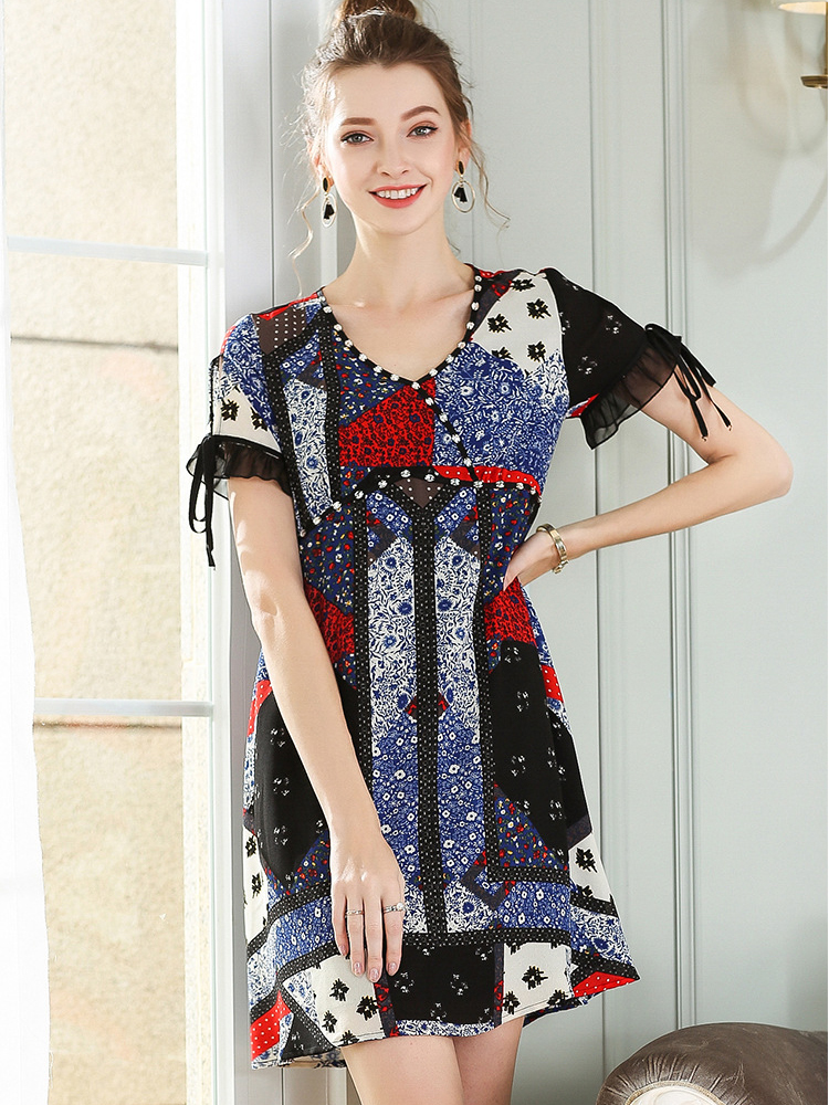 Short Chiffon Print Casual Dress