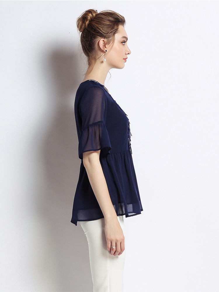 Chiffon Top with Braid and Fringe