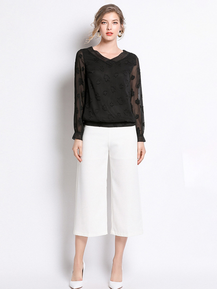 Chiffon Top with Elastic Hem